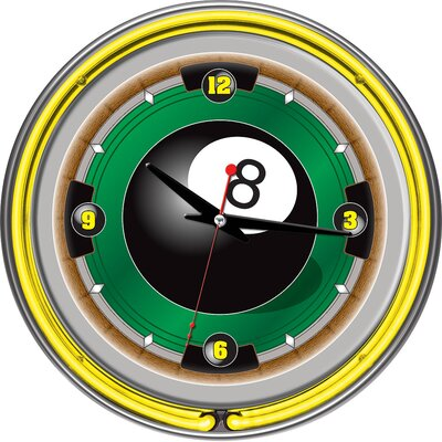 "Trademark Global Rack'em 8-Ball 14"" Neon Wall Clock"