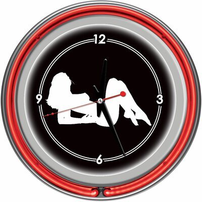 Shadow Babes - A Series - Clock with Two Neon Rings in Red