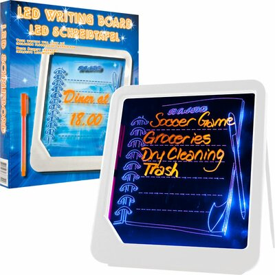 Trademark Global LED Writing Menu Message Board in White