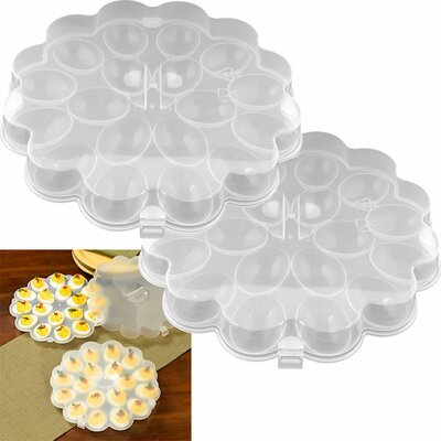 Trademark Global Deviled Egg Tray with Snap On Lid (Set of 2)