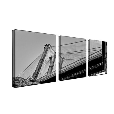 "Trademark Global Brooklyn Bridge II by Preston, Canvas Art (Set of 3) - 18"" x 18"""