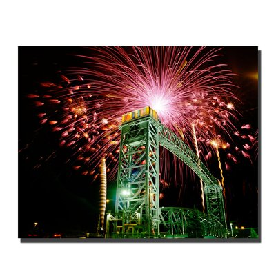 "Trademark Global Fireworks Bridge by Kurt Shaffer, Canvas Art - 26"" x 32"""