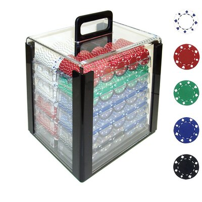 Suited Design Poker Chips in Acrylic Carrier