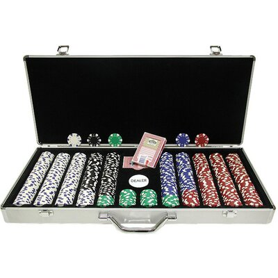 Dice-Striped Poker Chips in Aluminum Case