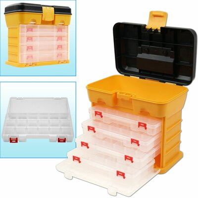 53 Compartment Durable Plastic Storage Tool Box in Yellow