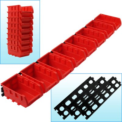 8 Bin Wall Mounted Parts Rack by Trademark Tools