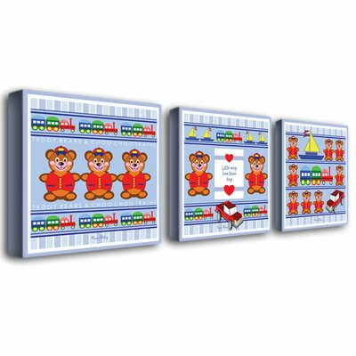 Trademark Global Boys Love Toys by Grace Riley Canvas Art (Set of 3)