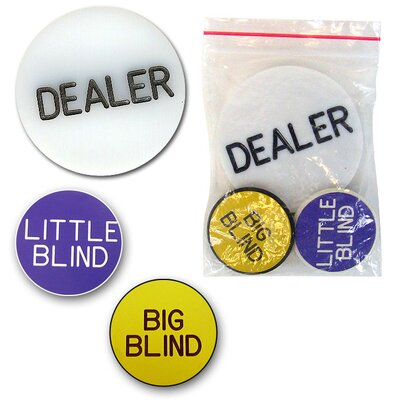 Trademark Global Poker Button Set - Dealer, Big & Little Blinds - in Bag