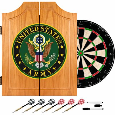 Trademark Global U.S. Army Symbol Wood Dart Cabinet Set