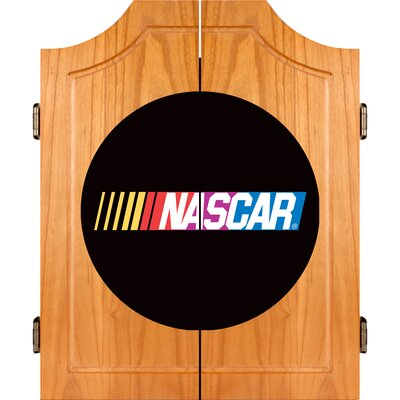 Trademark Global NASCAR Beveled Wood Dart Cabinet Set