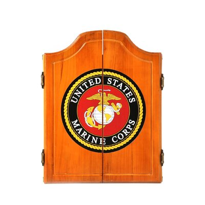Trademark Global United States Marine Corps Wood Dart Cabinet Set