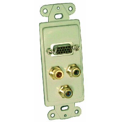 Comprehensive Single Gang Wall Plate (HD15F(1), RCA(3)RGB Passthru)