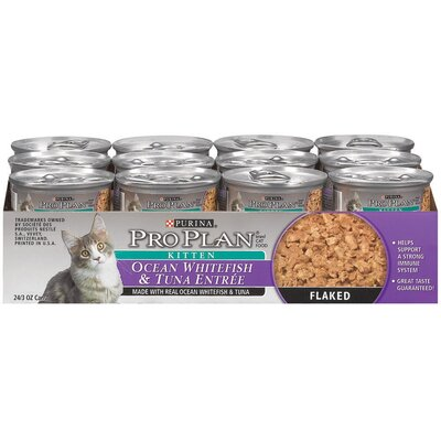 Pro Plan Kitten Ocean Whitefish and Tuna Entrée Wet Cat Food (3-oz, case of 24)