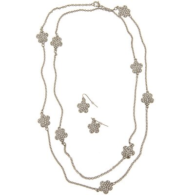 Zirconmania Silvertone Pave Crystal Daisy Necklace and Earring Set