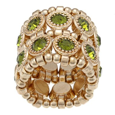 Zirconmania Goldtone Crystal 2-Row Disc Stretch Fashion Ring