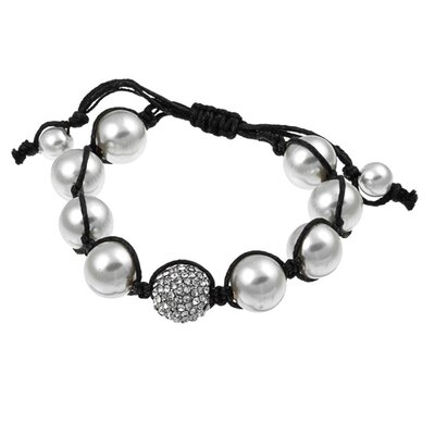 Pave Clear Crystal and White Faux Pearl Beaded Macrame Adjustable Bracelet