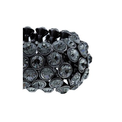 Zirconmania Oxidized Brass 5-Row Black Crystal Stretch Bracelet