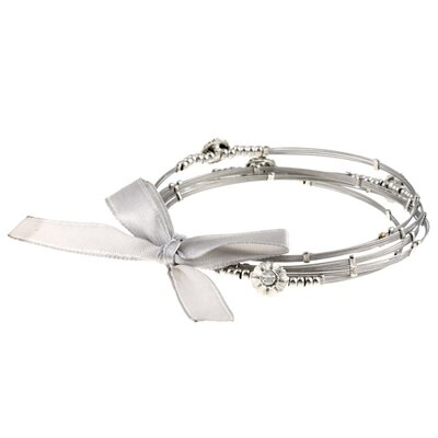 Zirconmania Stainless Steel and Crystal Flower Bangles (Set of 5)