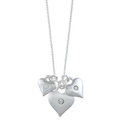 Zirconmania Silvertone Triple Heart and Crystal 'Love' Charm Necklace