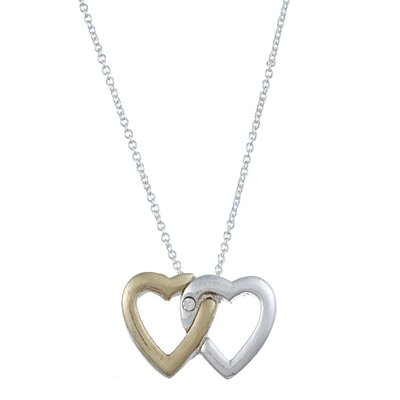 Two Tone 'Love' Intertwined Heart Charm Necklace