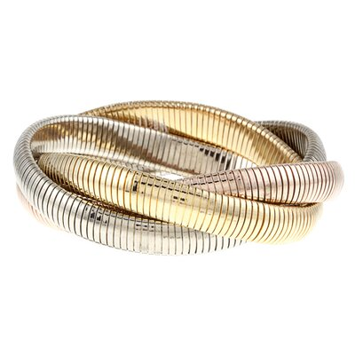 Overlay Tri-Tone Gold Interlocked Omega Stretch Bracelet