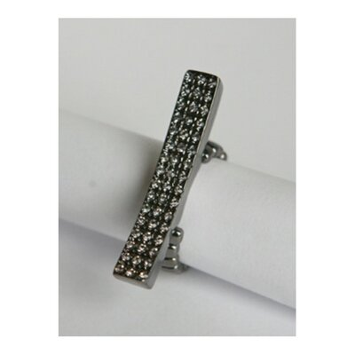 Gunmetal Pave Diamond Crystal Elongated Bar Stretch Ring