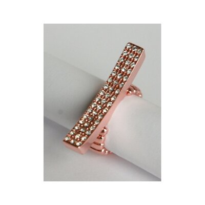 Zirconmania Rose Goldtone Pave Crystal Elongated Bar Stretch Ring