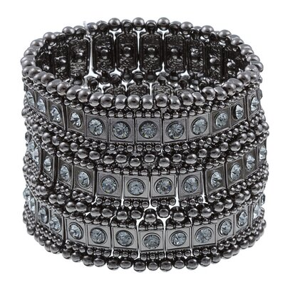 Gunmetal Crystal 3-Row Stretch Fashion Bracelet