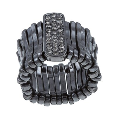 Zirconmania Gunmetal Black Crystal Stretch Fashion Ring