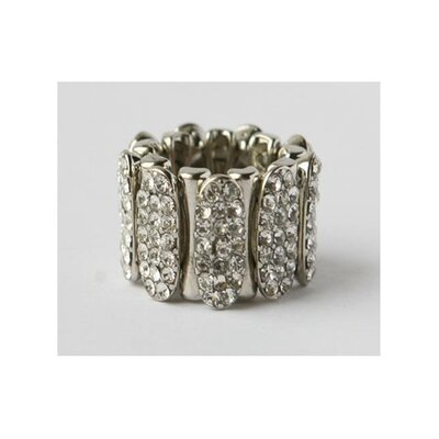 Silvertone Pave Crystal Sectional Stretch Ring