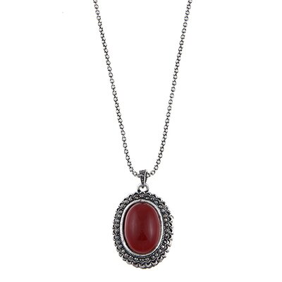 Oval Cabochon Pendant Necklace