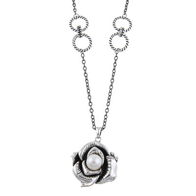 Faux Pearl Rose Necklace