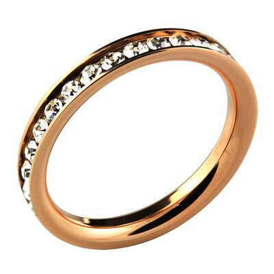 Trendbox Jewelry Stainless Steel Cubic Zirconia Eternity Band Ring