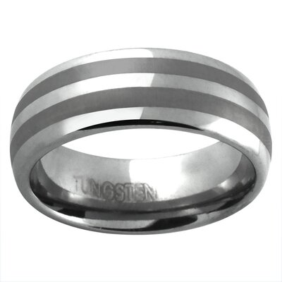 Men's Satin and Polish Striped Band Ring