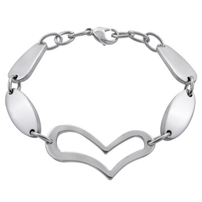 Stainless Steel Open Heart and Oval Link Bracelet