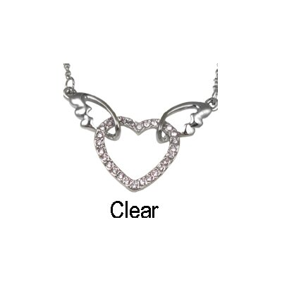 Overlay Crystal Heart with Wings Necklace