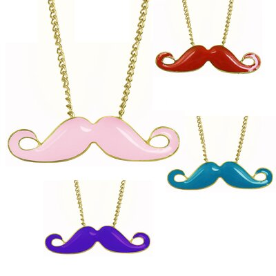 Enamel Mustache Necklace