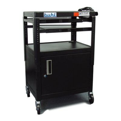 Buhl Height Adjustable AV Media Cart with Security Cabinet - Two Stationary Shelves