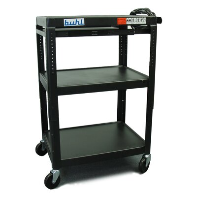 Buhl Height Adjustable AV Media Cart - Three Stationary Shelves / Pull-Out Shelf