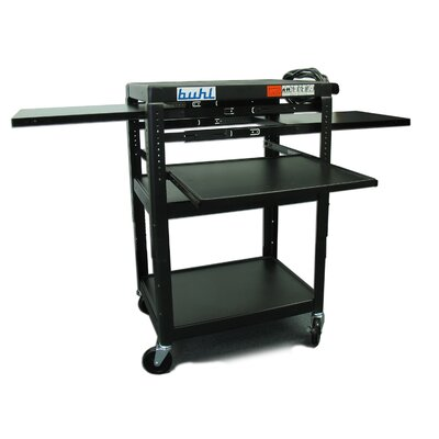Buhl Height Adjustable AV Media Cart - Three Stationary Shelves / Two Pull-Out Shelves / Laptop Shelf
