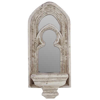 Sophisticated and Antique Cement Mirror with Candle Holder