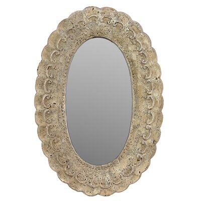 Antique and Sophisticated Oval Wall Cement Mirror