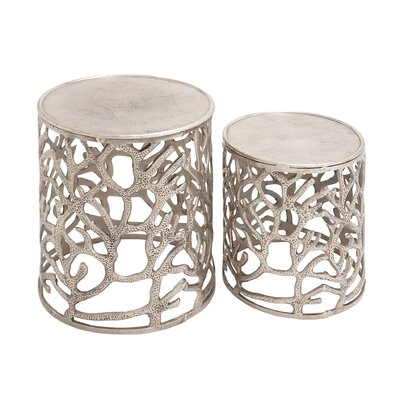 The Sparkling 2 Piece Aluminum Stool Set