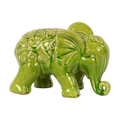 Embellished with Beautiful Motifs Adorable Ceramic Elephant Statue