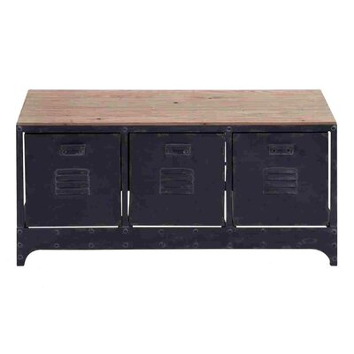 Woodland Imports Handcrafted Wood Metal Storage Bench