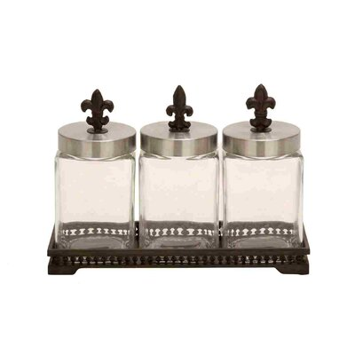 Woodland Imports Glass Metal Jar (Set of 3)