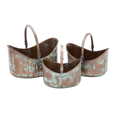 Woodland Imports Flat Base Metal Planters (Set of 3)