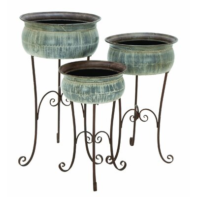 Woodland Imports Classic Metal Planter (Set of 3)