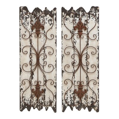 Woodland Imports Elegant Wood and Metal Wall Sculpture (Set of 2)