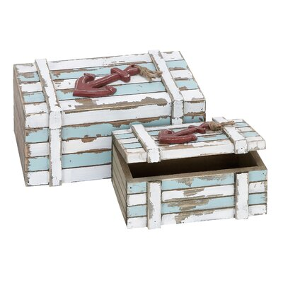 Woodland Imports Nautical Maritime Wood Box Décor (Set of 2)
